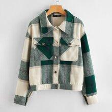 Jacke mit Knopfen vorn, Taschen Flicken und Karo Muster