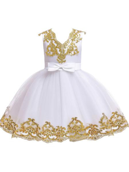Milanoo Vestidos de niña de flores Escote en V Tul Mangas cortas Hasta la rodilla Princesa Silueta Vestidos de fiesta bordados para niños