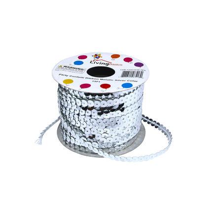 Ruban Confettis Party Metal couleur 15Ft - Argent LivingBasics ™