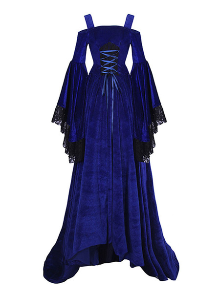 Milanoo Victorian Dress Costume Medieval Renaissance Velour Royal Red Strap Long Trumpet Sleeves Women's Shift Dress Halloween