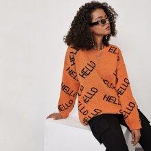 Pullover mit sehr tief angesetzter Schulterpartie und Buchstaben Muster