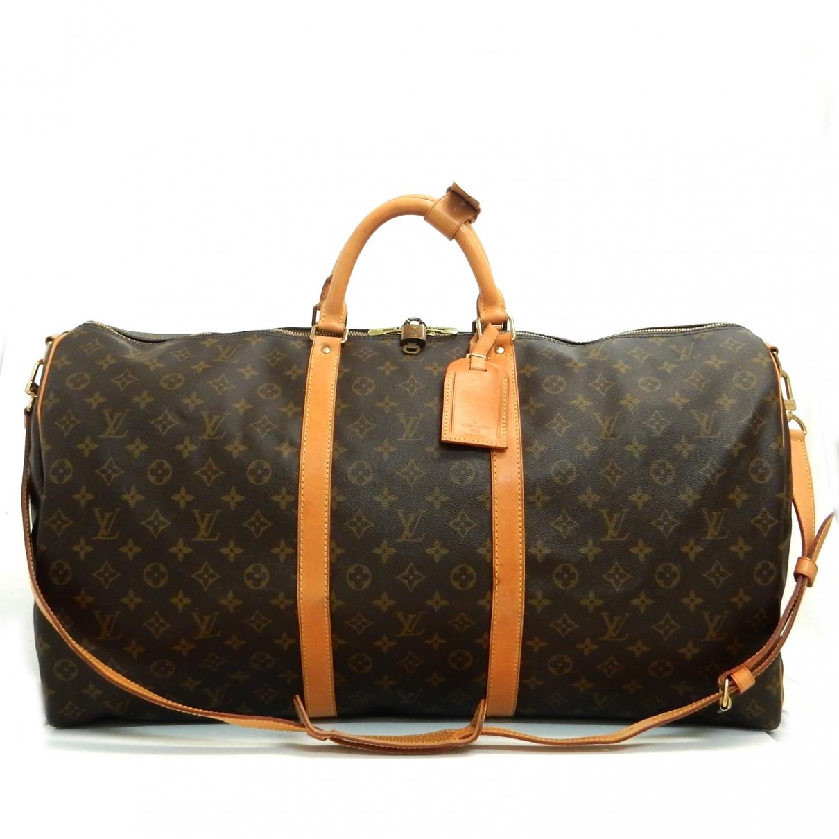Louis Vuitton Keepall Reisetasche in  Braun Leinen