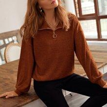 Drop Shoulder O-ring Zipper Sweatshirt