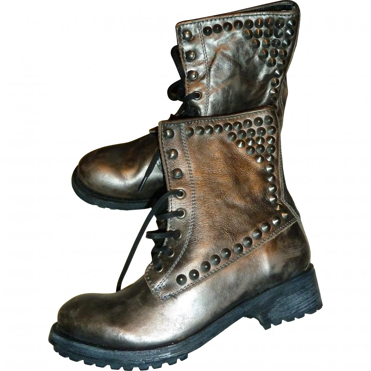 Ash - Boots   pour femme en cuir - bronze / noir / rose