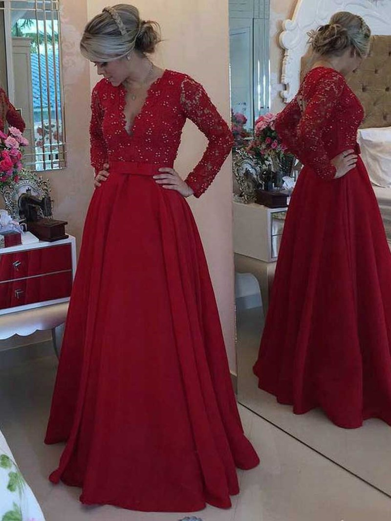 Ericdress Lace Beading Long Sleeves Mother Of The Bride Dress