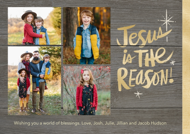 Christmas Photo Cards Flat Glossy Photo Paper Cards with Envelopes, 5x7, Card & Stationery -Rustic Jesus Is the Reason by Hallmark