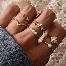 6 piezas anillo con perla artificial