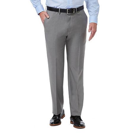 Haggar Premium Comfort Dress Pant Classic Fit Flat Front, 40 30, Silver