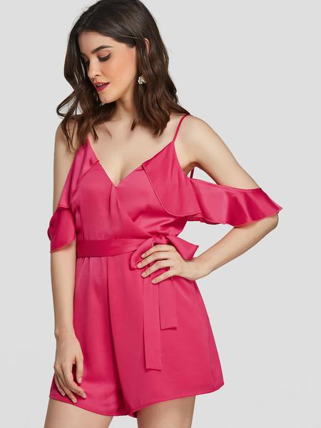 YOINS Neon Rose Cold shoulder Backless Playsuit With Belt