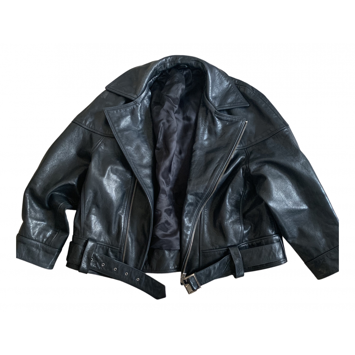 tophop Boutique \N Black Leather Leather jacket for Women 12 UK