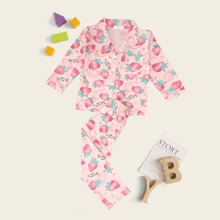 Toddler Girls Strawberry Print PJ Set