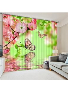 3D Elegant Butterflies and Pink Peach Flowers on the Water Natural Style Printed Blackout Curtain