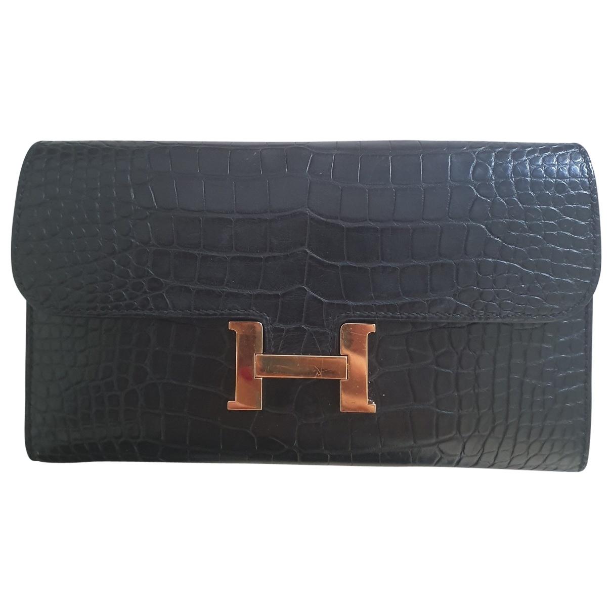 Hermès Constance Black Crocodile wallet for Women \N