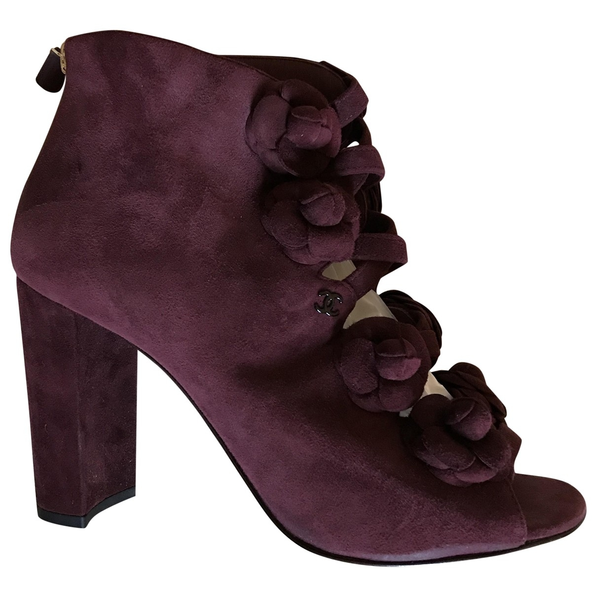 Chanel \N Burgundy Suede Ankle boots for Women 40 EU