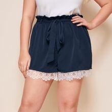 Shorts mit Wimpern Spitzenbesatz, Papiertasche Taille und Guertel