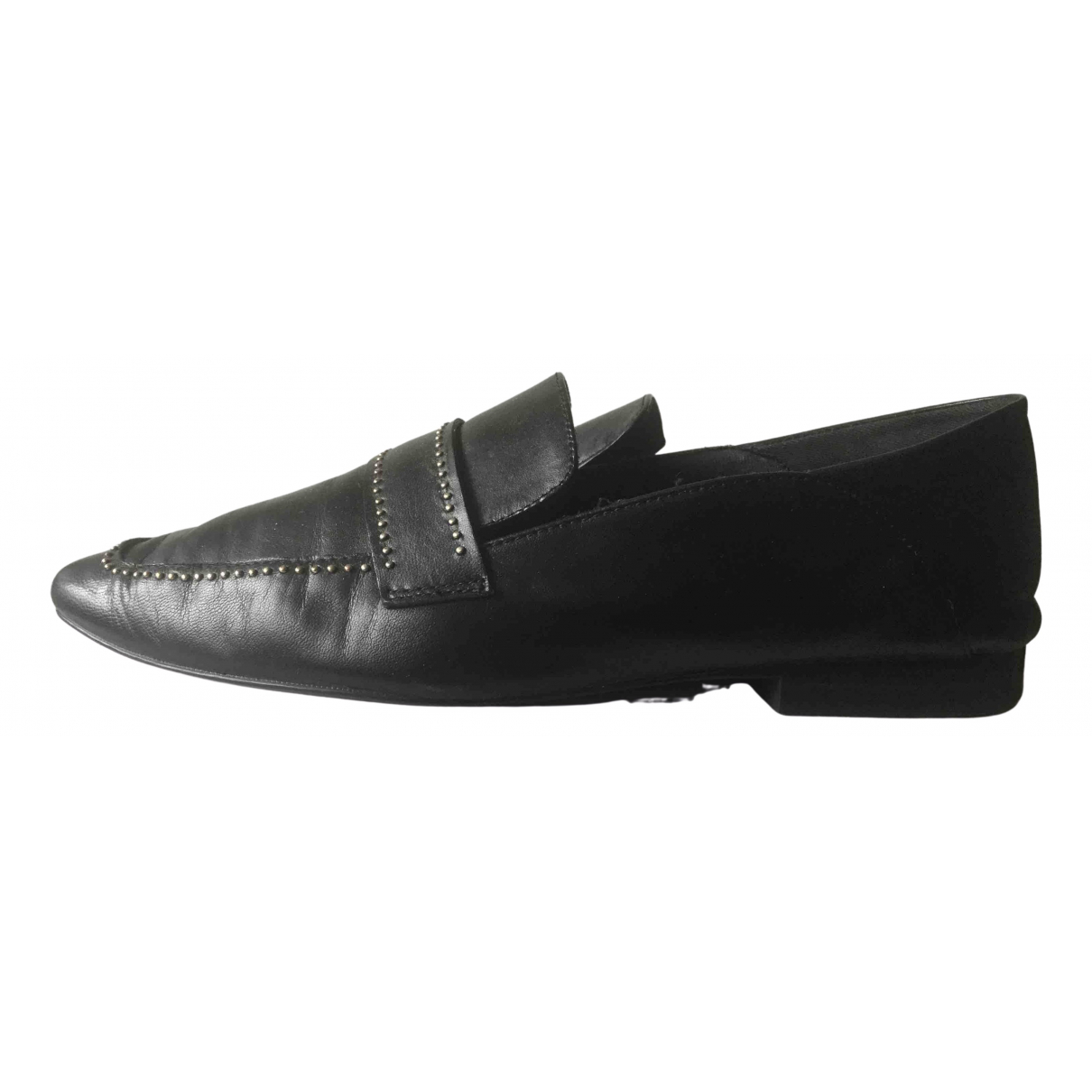 Zara N Black Leather Flats for Women 37 EU