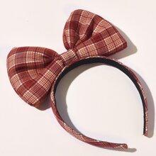 Christmas Plaid Bow Decor Hair Hoop