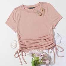Camiseta unicolor con cordon lateral