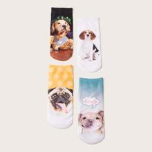 4pairs Dog Pattern Ankle Socks