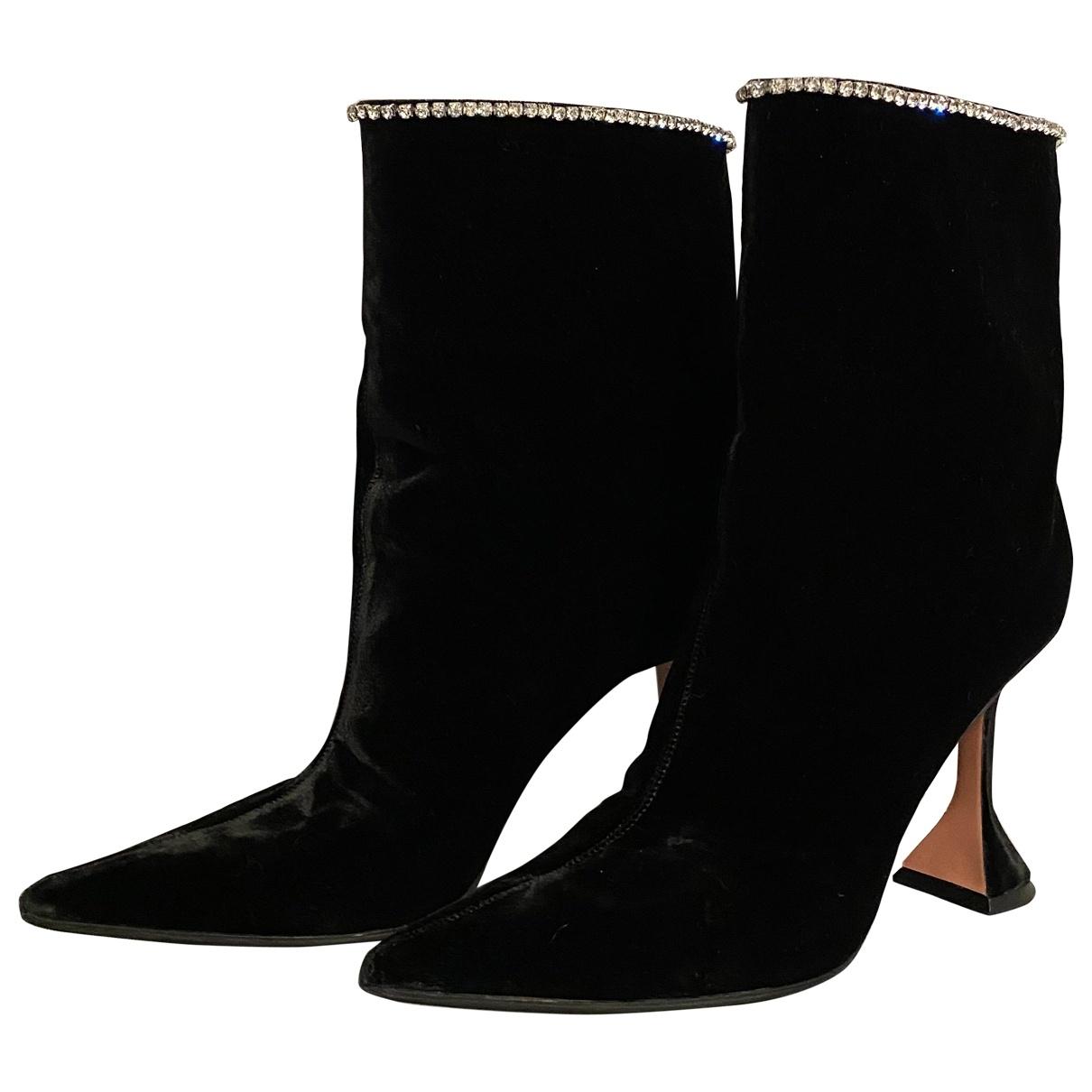 Amina Muaddi \N Black Velvet Ankle boots for Women 40 EU
