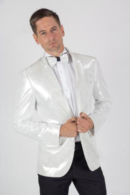 Mens White 2 Button Paisley Shiny Blazer Dinner Jacket