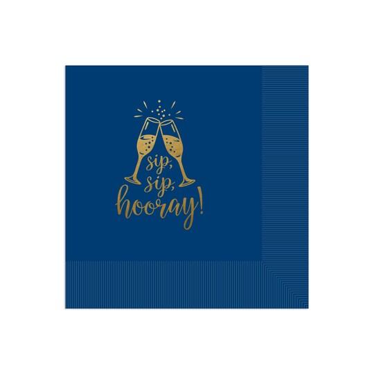 100 Pack of Gartner Studios® Personalized Sip Sip Hooray Foil Coined Wedding Napkin in Navy Blue   6.5