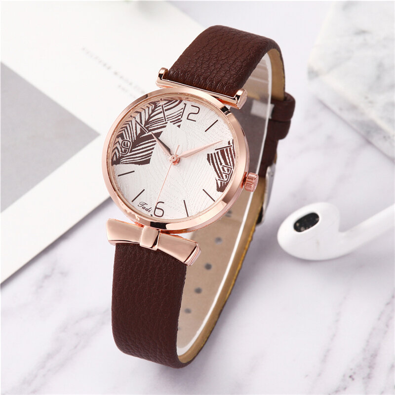 Funny Trendy Women Watches Tree Pattern Dial Rose Gold Alloy Case Leather Band Quartz Watch