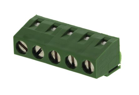 TE Connectivity , Buchanan 5mm Pitch, 5 Way PCB Terminal Strip, Green (5)