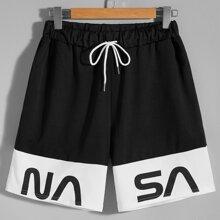 Shorts mit Buchstaben Grafik, Schlitz und Kordelzug