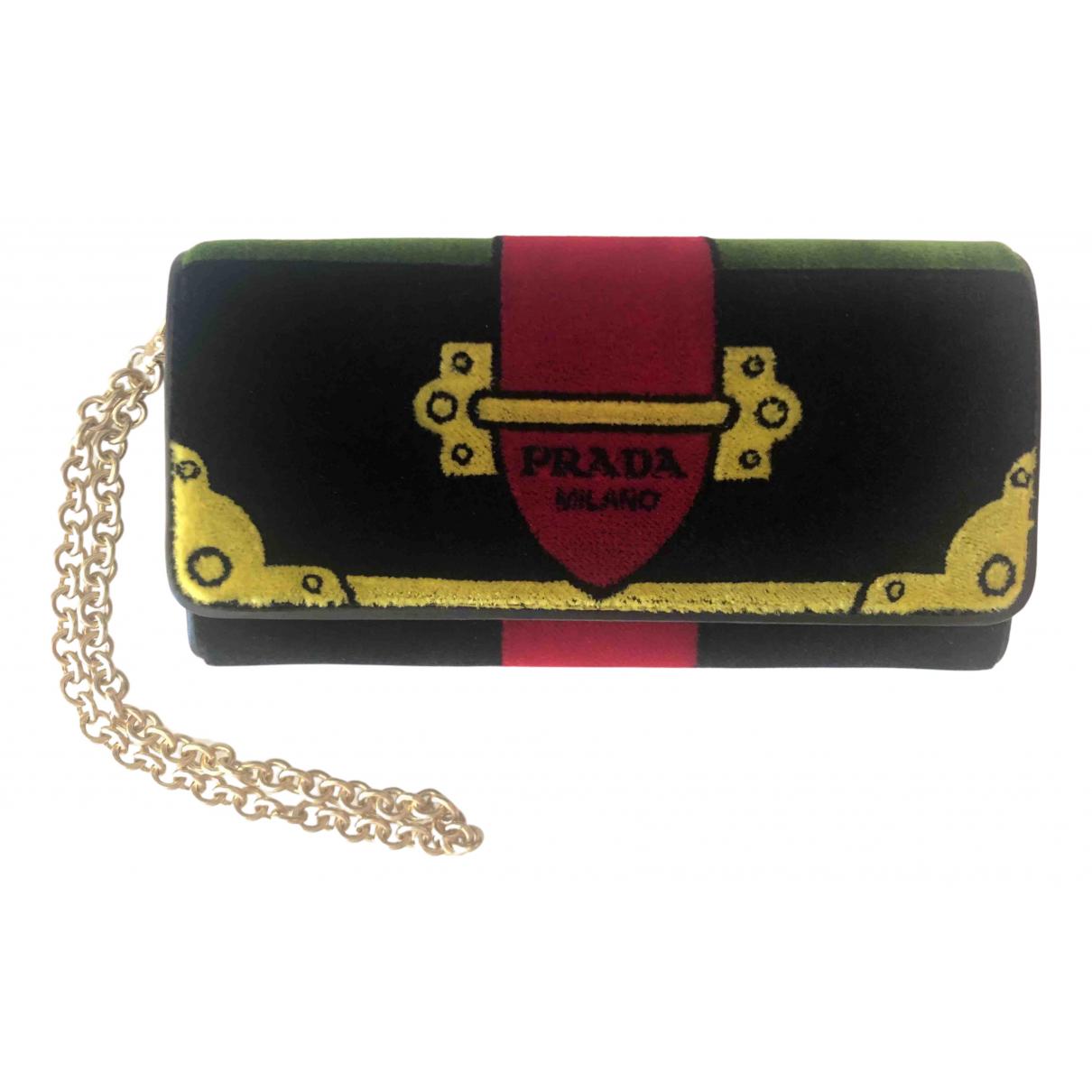 Prada Cahier Green Velvet Clutch bag for Women N