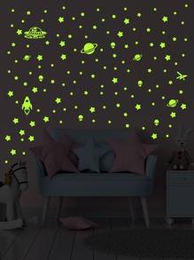 4sheets Kids Star Pattern Luminous Wall Sticker