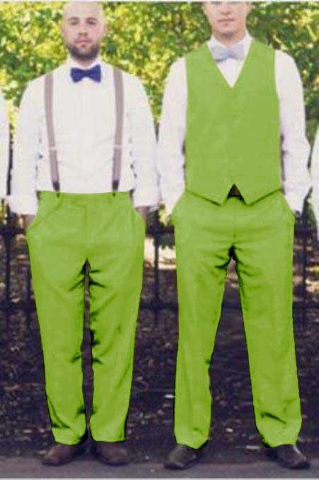 Matching Waistcoat Wedding ~ Prom Vests & Flat Front Pants Set Apple Green