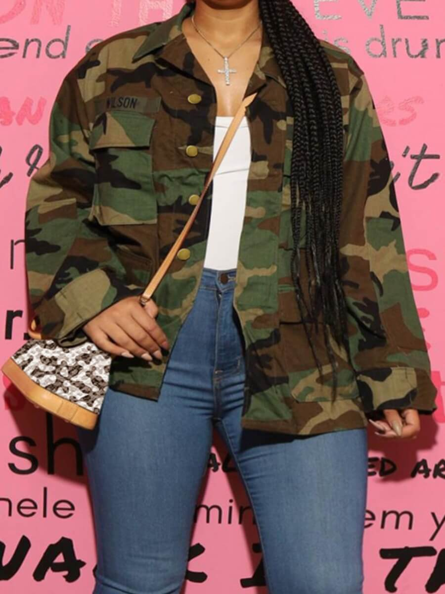 LW Lovely Trendy Turndown Collar Camo Print Army Green Pluse Size Denim Jacket
