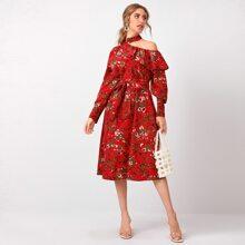 Kleid mit asymmetrischem Kragen, Ruesche Detail, Blumen Muster und Guertel