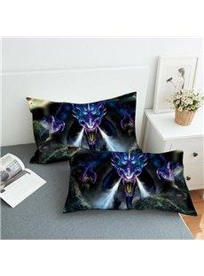 Angry Purple Dragon Reactive Printing 2-Piece Polyester Pillowcase