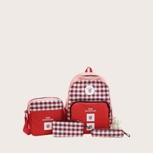 Sets de bolsa de niños A cuadros Rojo