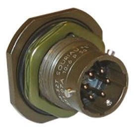 Souriau , 851 4 Way Panel Mount MIL Spec Circular Connector Receptacle, Pin Contacts,Shell Size 8, Bayonet Coupling,