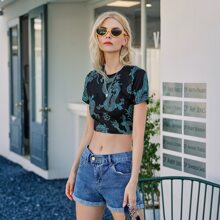 Dragon Print Cut Out Tie Back Crop Tee