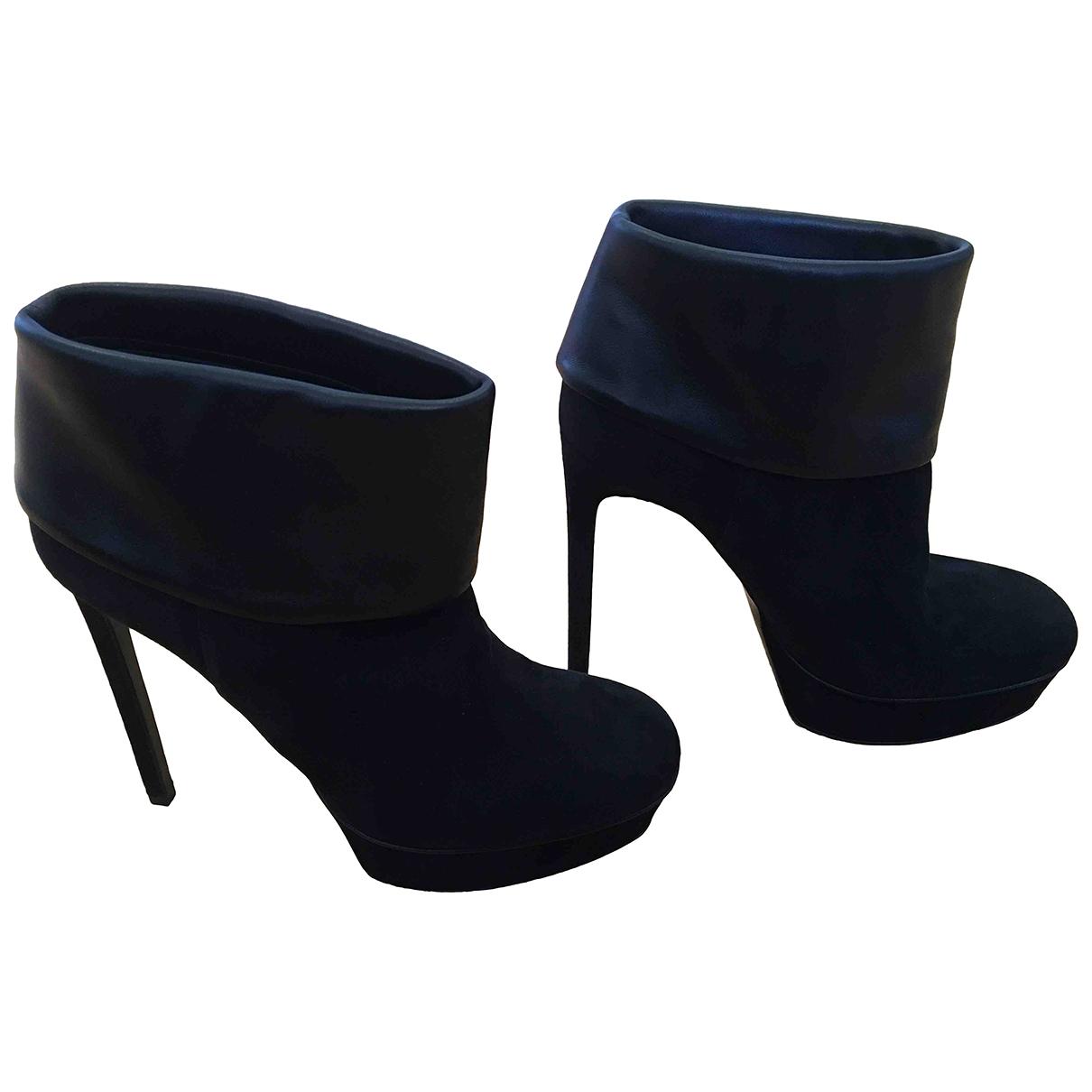 Saint Laurent \N Black Suede Ankle boots for Women 36 IT