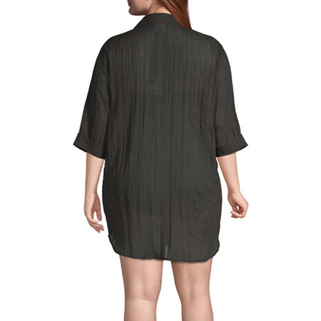 a.n.a Dress Swimsuit Cover-Up Plus, 0x , Black