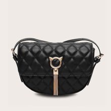 Tassel Decor Quilted Flap Crossbody Bag