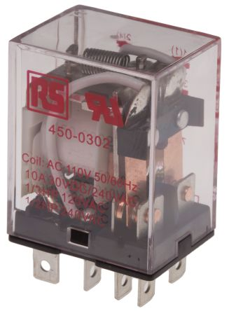 RS PRO , 110V ac Coil Non-Latching Relay DPDT, 10A Switching Current Plug In, 2 Pole