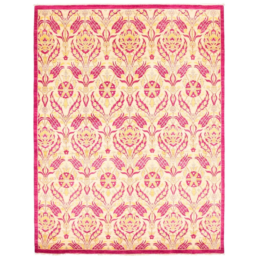 ECARPETGALLERY  Hand-knotted Lahore Finest Collection  Pink Wool Rug - 8'3 x 10'5 (8'3 x 10'5 - Dark Pink)