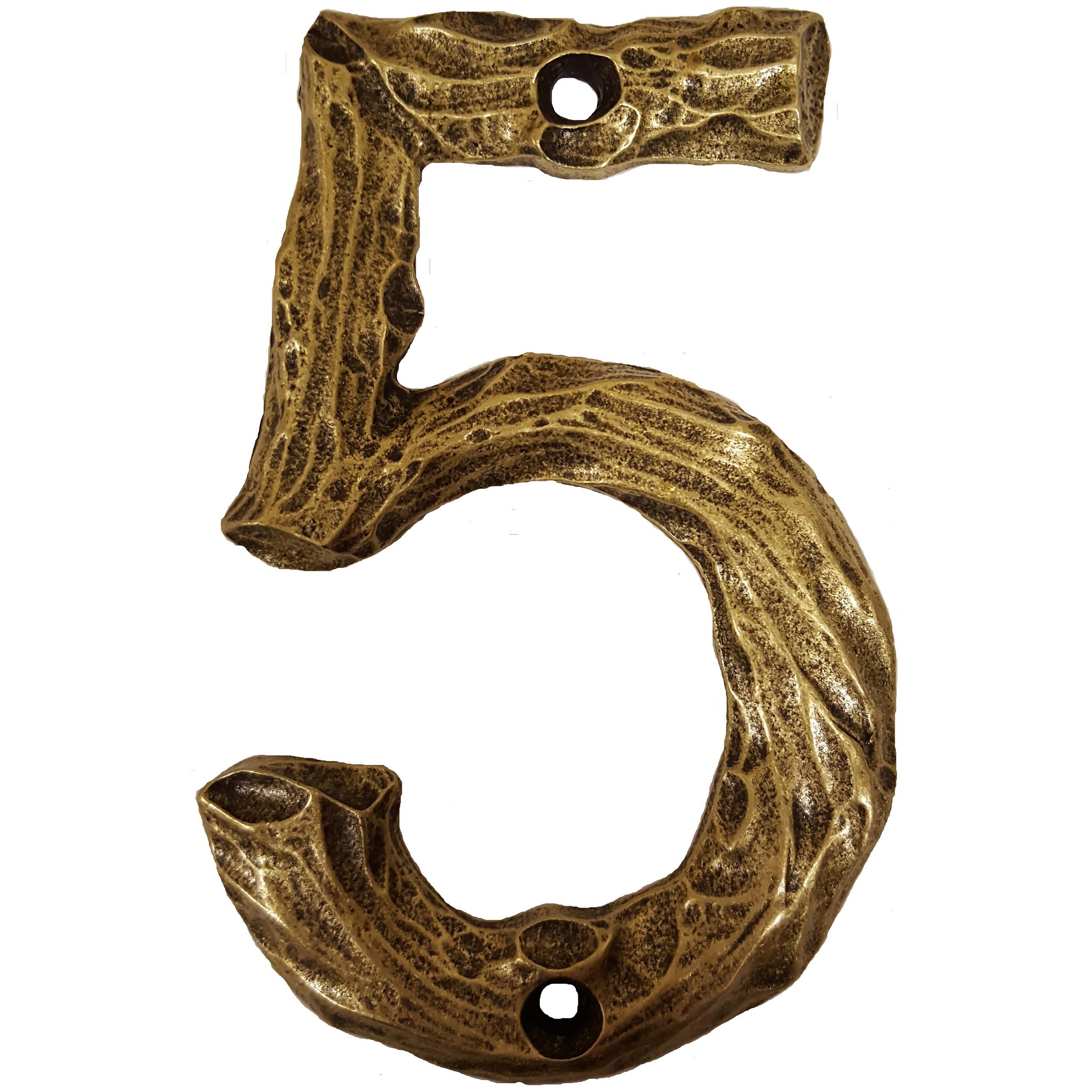 LHN5-AB Log House Number 5, Antique Brass, 1 piece