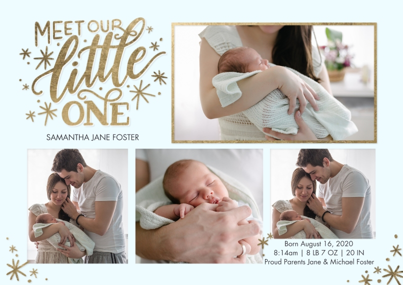 Baby Announcements 5x7 Cards, Premium Cardstock 120lb, Card & Stationery -Baby Gold Lettering by Tumbalina