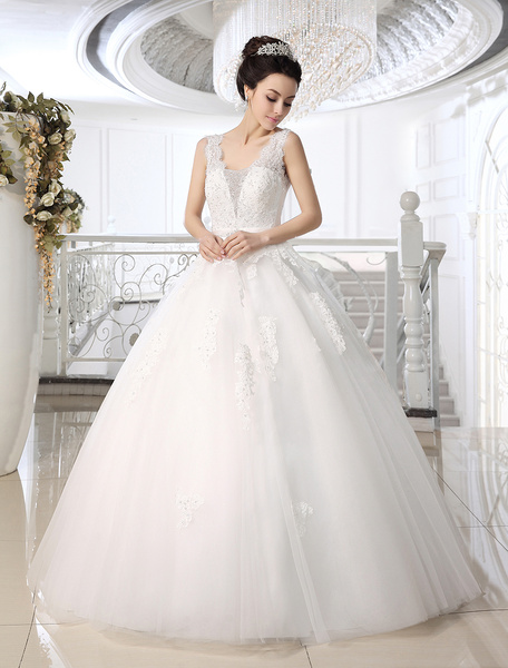 Milanoo Charming White Ball Gown Lace Floor-Length Bridal Wedding Dress