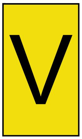 HellermannTyton Ovalgrip Slide On Cable Marker, Pre-printed V Black on Yellow 1.7 → 3.6mm Dia. Range