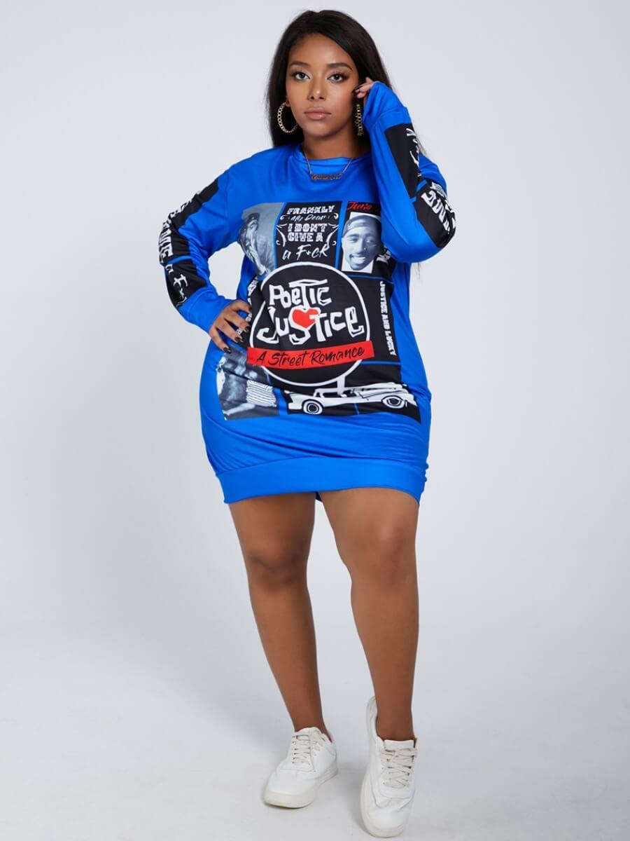 LW Lovely Street O Neck Print Blue Knee Length Plus Size Dress