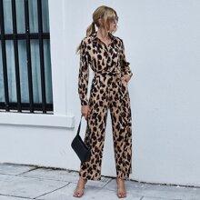 Leopard Print Button Front Belted Jumpsuit