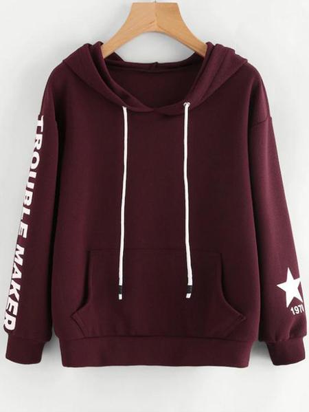 Yoins Pullover Hooded Design Letter Sweatshirt